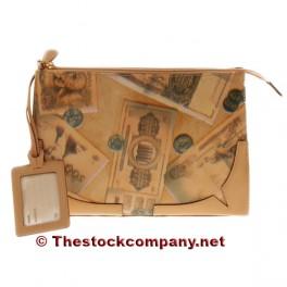 Bolso de mano beige cuadrado estampado billetes p.v.p 140€ UDS
