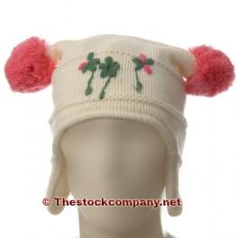 Gorro de lana color crudo con dos bolas de color rosa UDS